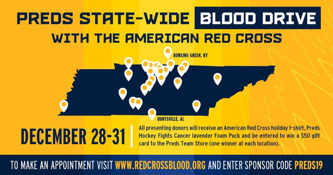 Dec. 28-31: Give blood for patients at the multi-state Nashville Predators Holiday Blood Drive