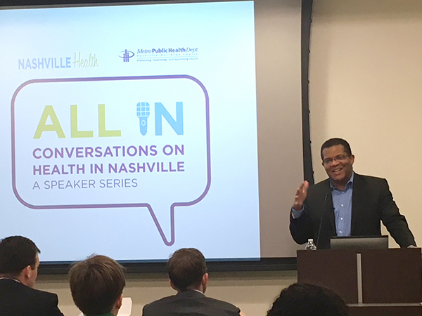 All In: Conversations on Health in Nashville | All In, NashvilleHealth, Metro Public Health Department, Lentz Public Health Center, Dr. Tony Iton, The California Endowment, Social Contract, Life Expectancy, Disparities, Inequality, Healthcare Spending, Social Care Spending, Health Outcomes