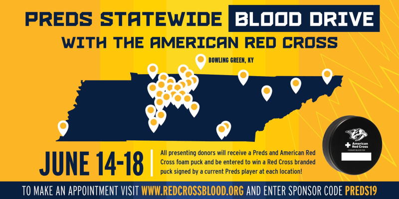 Nashville Predators and American Red Cross score with multi-city, record breaking blood drives June 14-18